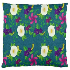 Caterpillar Flower Floral Leaf Rose White Purple Green Yellow Animals Large Cushion Case (two Sides)