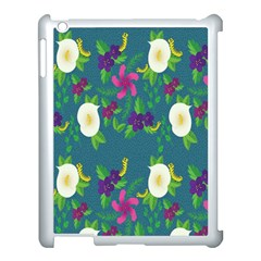 Caterpillar Flower Floral Leaf Rose White Purple Green Yellow Animals Apple Ipad 3/4 Case (white)