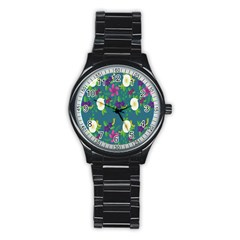 Caterpillar Flower Floral Leaf Rose White Purple Green Yellow Animals Stainless Steel Round Watch