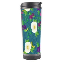 Caterpillar Flower Floral Leaf Rose White Purple Green Yellow Animals Travel Tumbler