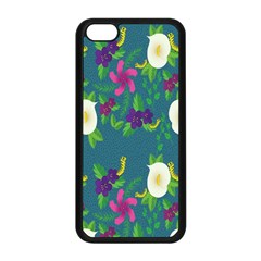 Caterpillar Flower Floral Leaf Rose White Purple Green Yellow Animals Apple Iphone 5c Seamless Case (black)