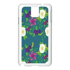 Caterpillar Flower Floral Leaf Rose White Purple Green Yellow Animals Samsung Galaxy Note 3 N9005 Case (white) by Alisyart