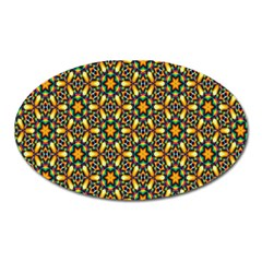 Caleidoskope Star Glass Flower Floral Color Gold Oval Magnet
