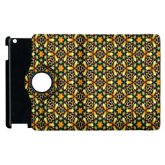 Caleidoskope Star Glass Flower Floral Color Gold Apple Ipad 3/4 Flip 360 Case