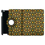 Caleidoskope Star Glass Flower Floral Color Gold Apple iPad 3/4 Flip 360 Case Front