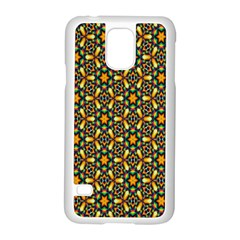 Caleidoskope Star Glass Flower Floral Color Gold Samsung Galaxy S5 Case (white)