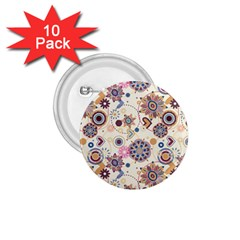 Flower Arrangements Season Floral Purple Love Heart 1 75  Buttons (10 Pack)