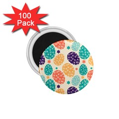 Egg Flower Floral Circle Orange Purple Blue 1 75  Magnets (100 Pack)  by Alisyart