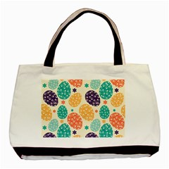 Egg Flower Floral Circle Orange Purple Blue Basic Tote Bag