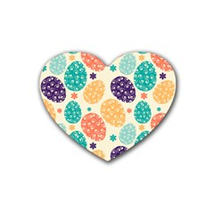 Egg Flower Floral Circle Orange Purple Blue Rubber Coaster (heart)