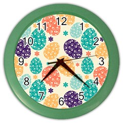 Egg Flower Floral Circle Orange Purple Blue Color Wall Clocks by Alisyart