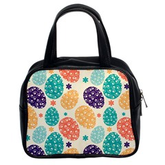 Egg Flower Floral Circle Orange Purple Blue Classic Handbags (2 Sides) by Alisyart