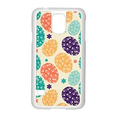 Egg Flower Floral Circle Orange Purple Blue Samsung Galaxy S5 Case (white)