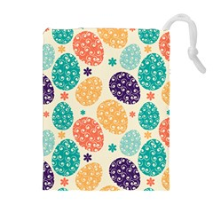Egg Flower Floral Circle Orange Purple Blue Drawstring Pouches (extra Large) by Alisyart
