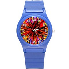 Color Batik Explosion Colorful Round Plastic Sport Watch (s) by Amaryn4rt