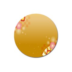 Flower Arrangements Season Floral Orange Magnet 3  (round)