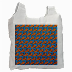 Fish Sea Beach Swim Orange Blue Recycle Bag (one Side)