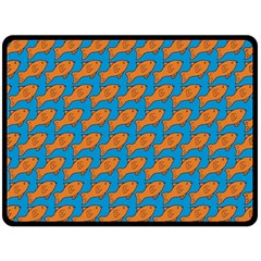 Fish Sea Beach Swim Orange Blue Fleece Blanket (large)