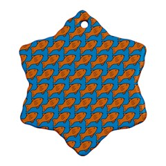 Fish Sea Beach Swim Orange Blue Snowflake Ornament (two Sides)