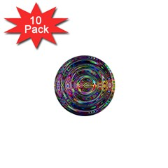 Wave Line Colorful Brush Particles 1  Mini Buttons (10 Pack)