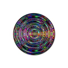 Wave Line Colorful Brush Particles Rubber Round Coaster (4 Pack)  by Amaryn4rt