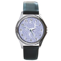 Floral Gray Springtime Flower Round Metal Watch