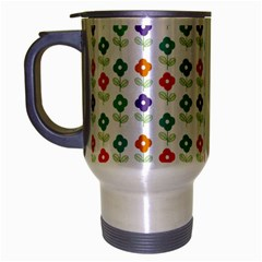 Flower Floral Sunflower Pink Blur Purple Yellow Green Travel Mug (silver Gray)