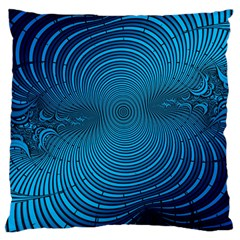 Abstract Fractal Blue Background Large Cushion Case (one Side) by Amaryn4rt