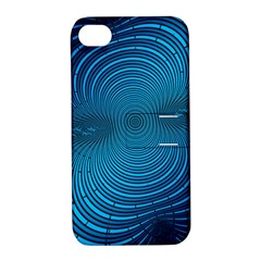 Abstract Fractal Blue Background Apple Iphone 4/4s Hardshell Case With Stand by Amaryn4rt