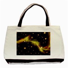 Particles Vibration Line Wave Basic Tote Bag (two Sides) by Amaryn4rt