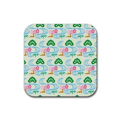 Flower Arrangements Season Sunflower Green Blue Pink Red Waves Rubber Square Coaster (4 Pack)  by Alisyart