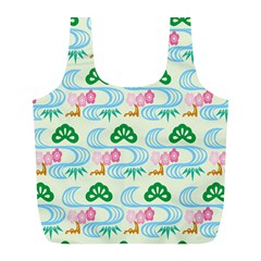 Flower Arrangements Season Sunflower Green Blue Pink Red Waves Full Print Recycle Bags (l)
