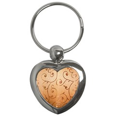 Texture Material Textile Gold Key Chains (heart)  by Amaryn4rt