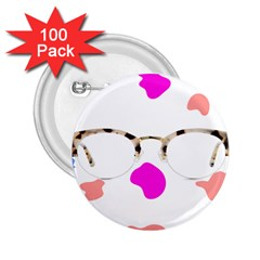 Glasses Blue Pink Brown 2 25  Buttons (100 Pack)  by Alisyart