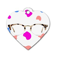Glasses Blue Pink Brown Dog Tag Heart (one Side)