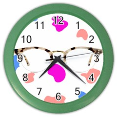 Glasses Blue Pink Brown Color Wall Clocks