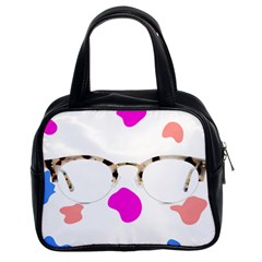 Glasses Blue Pink Brown Classic Handbags (2 Sides) by Alisyart