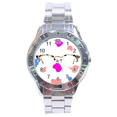 Glasses Blue Pink Brown Stainless Steel Analogue Watch by Alisyart