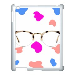 Glasses Blue Pink Brown Apple Ipad 3/4 Case (white)