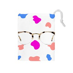 Glasses Blue Pink Brown Drawstring Pouches (medium)