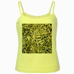 Ice Leaves Frozen Nature Yellow Spaghetti Tank by Amaryn4rt