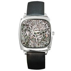 Ice Leaves Frozen Nature Square Metal Watch