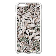 Ice Leaves Frozen Nature Apple Iphone 6 Plus/6s Plus Enamel White Case by Amaryn4rt