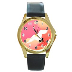 Goose Swan Pink Orange White Animals Fly Round Gold Metal Watch