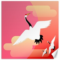 Goose Swan Pink Orange White Animals Fly Canvas 16  X 16   by Alisyart