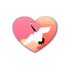 Goose Swan Pink Orange White Animals Fly Heart Coaster (4 Pack)