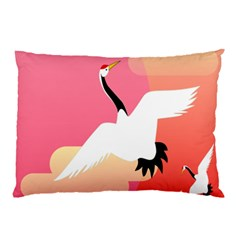 Goose Swan Pink Orange White Animals Fly Pillow Case (two Sides)