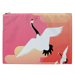 Goose Swan Pink Orange White Animals Fly Cosmetic Bag (xxl)