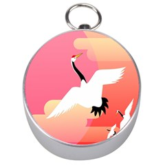 Goose Swan Pink Orange White Animals Fly Silver Compasses by Alisyart