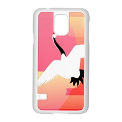 Goose Swan Pink Orange White Animals Fly Samsung Galaxy S5 Case (white)